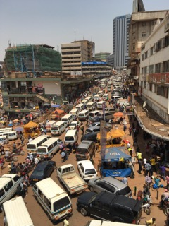The traffic in downtown Kampala